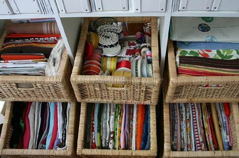 bookcase storage baskets