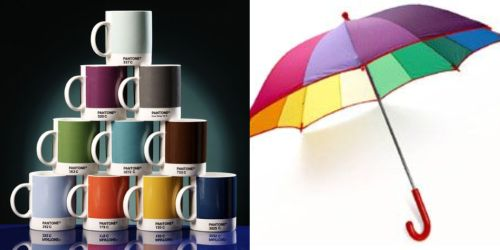 rainbow mugs and umbrella